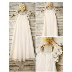 A-Line/Princess Scoop Neck Tea-length With Lace Chiffon Flower Girl Dresses