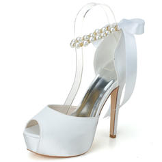 Women's Peep Toe Pumps Sandals Stiletto Heel Satin With Imitation Pearl Wedding Shoes
