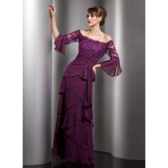 Vestidos princesa/ Formato A Off-the-ombro Longos Tecido de seda Vestido de baile com Renda Beading lantejoulas Curvado Babados em cascata (018112858)