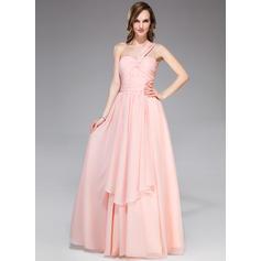 Chiffon Regular Straps One-Shoulder A-Line/Princess Prom Dresses (018047254)