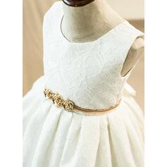 Forme Princesse Longueur genou Robes à Fleurs pour Filles - Dentelle Sans manches Col rond avec Dentelle/À ruban(s) (010103722)