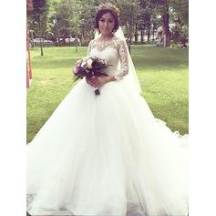 Stunning Off-The-Shoulder Ball-Gown Wedding Dresses Court Train Tulle 3/4 Length Sleeves