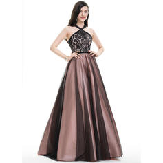 Ball-Gown Scoop Neck Floor-Length Tulle Prom Dresses With Beading Sequins (018105697)