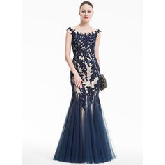 Trumpet/Mermaid Scoop Neck Floor-Length Tulle Evening Dress With Appliques Lace (017074937)