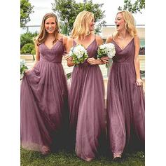 A-Line/Princess V-neck - Tulle Bridesmaid Dresses (007217808)