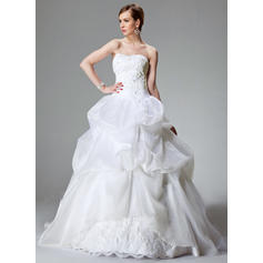Sexy Chapel Train Ball-Gown Wedding Dresses Sweetheart Satin Organza Sleeveless