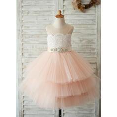 A-Line/Princess Knee-length Flower Girl Dress - Satin/Tulle/Lace Sleeveless Scoop Neck With Sash/Beading (Detachable sash)