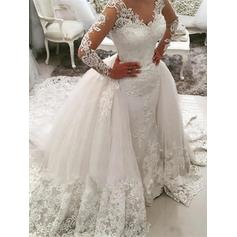 Beautiful Cathedral Train Ball-Gown Wedding Dresses V-neck Tulle Long Sleeves