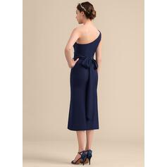 Forme Fourreau Seule-épaule Longueur mollet Crêpe Stretch Robe de demoiselle d'honneur avec À ruban(s) (007153317)