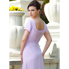 Forme Princesse Encolure carrée Longueur ras du sol Mousseline Robe de mère de la mariée avec Plissé Brodé Paillettes (008024570)
