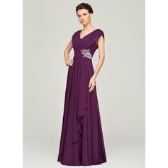 Forme Princesse Col V Longueur ras du sol Mousseline Robe de mère de la mariée avec Brodé Paillettes Robe à volants (008062562)