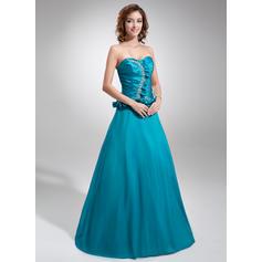 A-Line/Princess Taffeta Prom Dresses Flattering Floor-Length Sweetheart Sleeveless