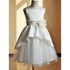 Fashion Square Neckline A-Line/Princess Flower Girl Dresses Tea-length Satin/Tulle Sleeveless