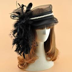 Organza mit Feder/Faux-Perlen Kopfschmuck Jahrgang Damen Mützen
