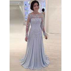 Chiffon Lace Sweep Train A-Line/Princess Long Sleeves Mother of the Bride Dresses (008146300)