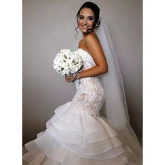 Delicate Chapel Train Trumpet/Mermaid Wedding Dresses Sweetheart Organza Sleeveless