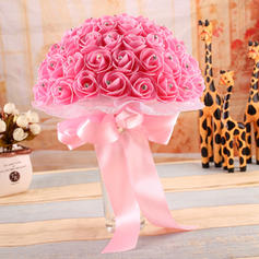"Bridal Bouquets Round Wedding Satin/PE 9.85""(Approx.25.5cm) Wedding Flowers"