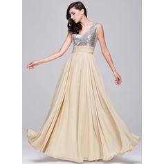 A-Line/Princess Chiffon Sequined Prom Dresses Ruffle V-neck Sleeveless Floor-Length