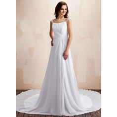 Flattering Chapel Train Sweetheart A-Line/Princess Chiffon Wedding Dresses (002196867)