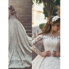 Ball-Gown Lace Satin - Modern Wedding Dresses (002213514)