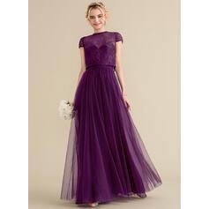 Vestidos princesa/ Formato A Amada Longos Tule Vestido de madrinha com Pregueado