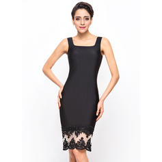 Sheath/Column Knee-Length Jersey Cocktail Dress With Beading Appliques Lace Sequins (016055943)