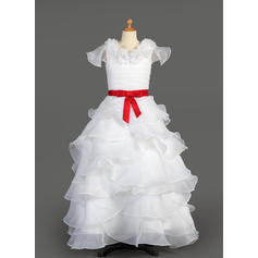 Elegant Floor-length A-Line/Princess Flower Girl Dresses Scoop Neck Taffeta/Organza Sleeveless