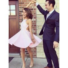 A-Line/Princess Satin Homecoming Dresses Halter Sleeveless Short/Mini