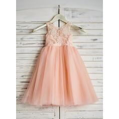 Forme Princesse Longueur mollet Robes à Fleurs pour Filles - Tulle Sans manches Col rond avec Dentelle (010090286)