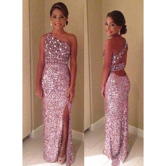 Sequined Sleeveless Sheath/Column Prom Dresses One-Shoulder Split Front Floor-Length