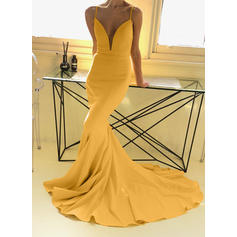 Trumpet/Mermaid V-neck Sweep Train Stretch Crepe Evening Dresses