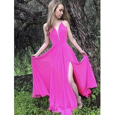 Luxurious Chiffon Evening Dresses A-Line/Princess Floor-Length V-neck Sleeveless