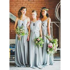 A-Line/Princess Chiffon Bridesmaid Dresses Sash V-neck Scoop Neck Sleeveless Floor-Length (007212230)