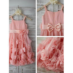 A-Line/Princess Straps Tea-length With Flower(s)/Bow(s) Chiffon/Tulle Flower Girl Dresses