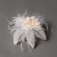 "Fascinators/Combs & Barrettes Wedding/Special Occasion/Party Feather/Tulle/Leatherette 3.94""(Approx.10cm) 3.15""(Approx.8cm) Headpieces"