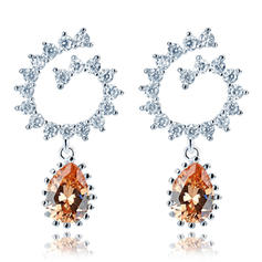 Earrings Zircon/Platinum Plated Pierced Ladies' Attractive Wedding & Party Jewelry