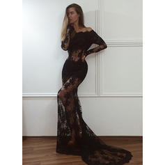 Trumpet/Mermaid Off-the-Shoulder Sweep Train Lace Evening Dresses (017217111)