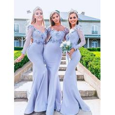 Trumpet/Mermaid Jersey Bridesmaid Dresses Appliques Off-the-Shoulder Long Sleeves Floor-Length