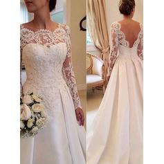 Gorgeous Court Train Ball-Gown Wedding Dresses Scoop Satin Lace Long Sleeves