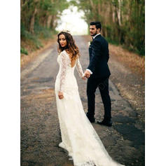 2019 New Chapel Train Sheath/Column Wedding Dresses V-neck Tulle Lace Long Sleeves