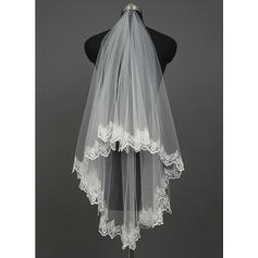 Waltz Bridal Veils Tulle One-tier Classic/Cascade With Lace Applique Edge Wedding Veils