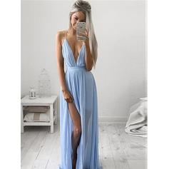 A-Line/Princess V-neck Floor-Length Chiffon Evening Dresses With Ruffle Split Front