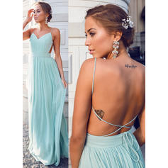 A-Line/Princess V-neck Chiffon Sleeveless Floor-Length Ruffle Evening Dresses