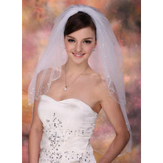 Elbow Bridal Veils Tulle Two-tier Classic With Beaded Edge Wedding Veils