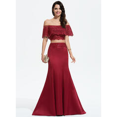 Trumpet/Mermaid Off-the-Shoulder Sweep Train Satin Prom Dresses With Lace Sequins (018175927)