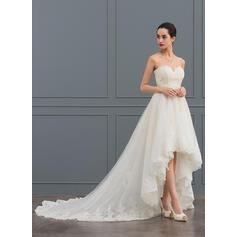 Corte A Amada Assimétrico Tule Renda Vestido de noiva com Beading (002127268)