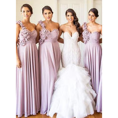 A-Line/Princess One-Shoulder Floor-Length Bridesmaid Dresses With Ruffle