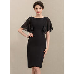 Sheath/Column Scoop Neck Knee-Length Chiffon Cocktail Dress With Beading Sequins