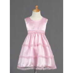 Knee-length Sleeveless Tulle/Charmeuse With Princess Flower Girl Dresses (010014661)
