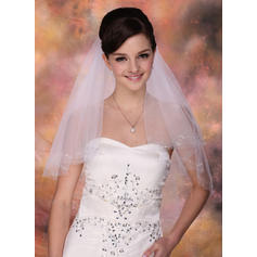 Yema del dedo velos de novia Tul Dos capas Estilo clásico con Corte de borde Velos de novia